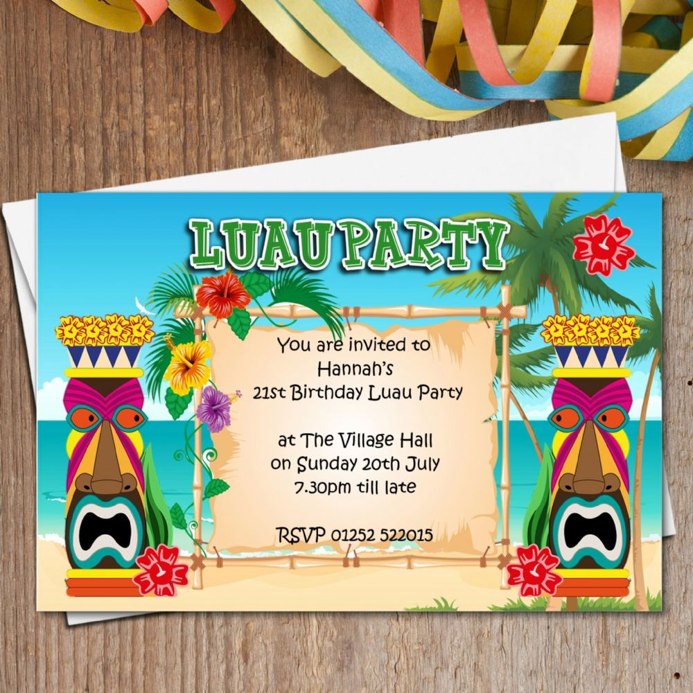 Wallpaper Border For Teenage Girl 10 Personalised Luau Hawaii Party Invitations N165 The